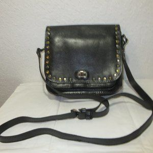Patricia Nash Black Leather Crossbody with rivets on flap